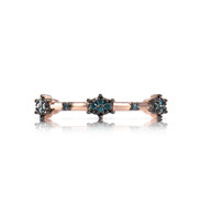 "Blue Diamond 14K Rose Gold ""Starburst"" Stacking Band"