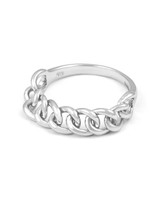 Solid 14K White Gold Chain Ring