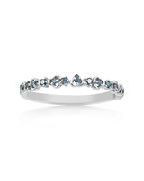 "Blue Diamond 14K White Gold ""Vine"" Style Stackable Ring"