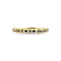 """Blue Diamond 14K Yellow Gold """"Vine"""" Style Stackable Ring"""