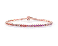 Pink and Orange Ombré Precious Stone 14K Rose Gold Tennis Bracelet