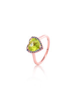 Green Peridot & Blue Topaz 14K Rose Gold Heart Semi-Precious Stone Heart Ring with Halo Pave
