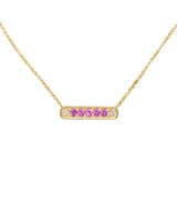 White Diamonds & Pink Sapphires 14K Yellow Gold Bar Necklace
