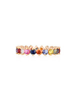 Multi-Colored Fancy Sapphire 14K Rose Gold Eternity Band