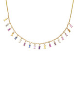 White Diamonds & Multi-Colored Baguette Fancy Sapphire 14K Yellow Necklace
