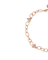 Blue & Champagne Diamond Triangles 14K Rose Gold Textured Link Chain Bracelet