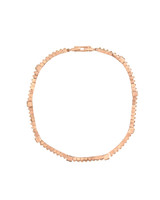 Champagne Diamond Stations 14K Rose Gold Pyramid Style Tennis Bracelet