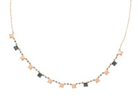 Blue Diamond 14K Rose Gold Pyramid Stud Necklace