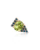 Blue Diamonds Peridot 14K Rose Gold Arrow Stud, Single
