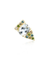 Blue, Green & Champagne Diamonds 14K Yellow Gold Aquamarine Arrow Stud, Single
