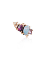 White Diamond 14K Rose Gold Mini Ear Climber w/ Rhodolite, Purple Amethyst &  Opal - Right Ear