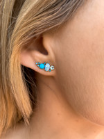 Blue Diamonds 14K Yellow Gold Semi-Precious Stone Ear Climber w/ Aquamarine, Turquoise & Doublet Opal - Right Ear, Sold Single