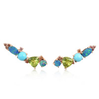Pink Diamond 14K Rose Gold Ear Climbers with Peridot, Doublet Opal & Turquoise