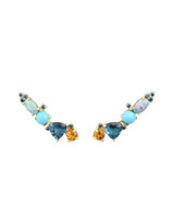 ONE OF A KIND - Blue Diamonds 14K Rose Yellow Citrine, London Blue Topaz, Doublet Opal & Turquoise Ear Climbers, Sold as Pair
