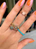 Blue & Green Diamond 14K Rose Gold Thick Textured Band Ring