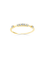 Raised White Diamond 14K Yellow Gold Stacking Ring