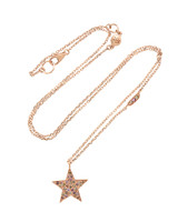 Pink and Champagne Diamond 14K Rose Gold Star Necklace