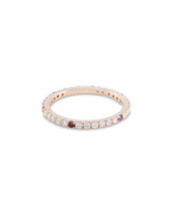 White & Rainbow Diamond 14K Yellow Gold  Micro Pave Eternity Band