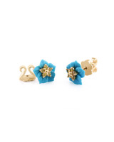 14K Yellow Gold Carved Turquoise Flower Single Stud with Yellow Diamond