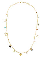 Multi-Color Semi-Precious Stone 14K Yellow Gold Lucky Charm Necklace