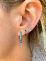 Blue Diamond & 3-Stone Semi-Precious 14K White Gold Dangle Earrings with Chain