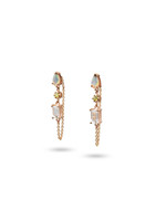Opal, Yellow Diamond, & White Topaz 14K Rose Gold Dangle Earrings with Chain