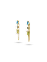 Blue Diamond, Swiss Blue Topaz, & Peridot 14K Yellow Gold Dangle Earrings with Chain