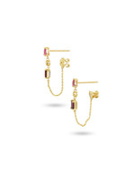 White Diamond, Pink Tourmaline, & Rhodolite 14K Yellow Gold Dangle Earrings with Chain