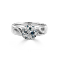 White & Blue Diamond 14K White Gold Thick Textured Band Ring