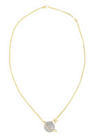 Solid 14K Yellow Gold Large Saturn Necklace with Gray Diamonds