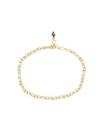 White Diamond 14K Yellow Gold Curb Dainty Link Bracelet