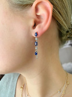 Blue Sapphire & White Diamond 14K Yellow Gold Teardrop Dangle Earrings with Chain
