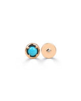 Turquoise Semi-Precious Stone Gold Round Charm with White Diamond In 14K Rose Gold