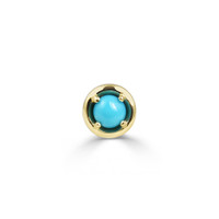 Turquoise 14K Yellow Gold Round Charm with White Diamond