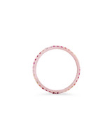 Pink and Orange Ombré Precious Stone 14K Rose Gold Micro Pave Eternity Band