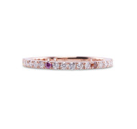 Orange and Pink Sprinkles 14K Rose Gold White Diamond Micro Pave Eternity Band