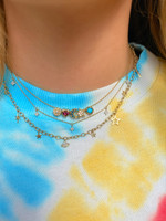 """18K Yellow Gold Adjustable Textured Wire Necklace 16-18"""""""