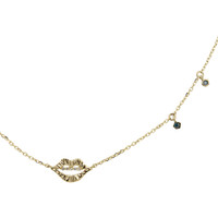 "White Diamond ""Smooch"" 14K Yellow Gold Necklace with Blue Diamond Dangles"