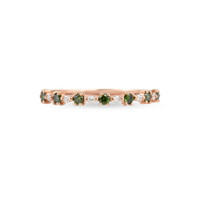 "Green Diamond 14K Rose Gold ""Flowerette"" Style Stackable Ring"
