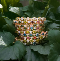 """Yellow Diamond 14K Rose Gold """"Flowerette"""" Style Stackable Ring"""