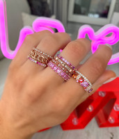 """Pink Diamond 14K Rose Gold """"Flowerette"""" Style Stackable Ring"""