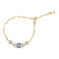 """Emerald Cut Aquamarine 18K Yellow Gold """"Perfect Fit"""" Adjustable Chain Ring with White Diamonds"""