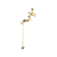 Blue Diamond 14K Yellow Gold Star Ear Cuff with Star Dangle Back, Left Ear