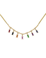 White Diamond 14K Yellow Gold Sapphire Baguette Dangle Necklace
