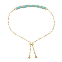 """Turquoise Square Cabochon 18K Yellow Gold """"Perfect Fit"""" Adjustable Bracelet with White Diamonds"""