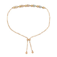 "Teardrop Opal Cabochon 18K Rose Gold ""Perfect Fit"" Adjustable Bracelet with Yellow Diamonds"