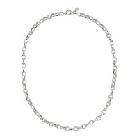 Hammered 14K White Gold Chunky Oval Chain