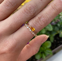 """Pear Shape Citrine 18K Rose Gold """"Perfect Fit"""" Adjustable Chain Ring"""
