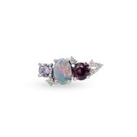 White Diamond 14K White Gold Mini Ear Climber w/ Lavender Amethyst, Opal, & Rhodolite  - Left Ear