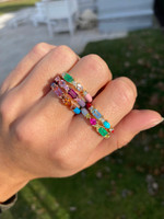 Pink Tourmaline & Spessatite 14K Rose Gold Blue Enamel Ring with Cognac Diamonds